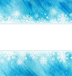 Winter watercolor grunge frame with snowflakes vector