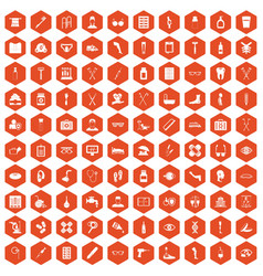 100 disabled healthcare icons hexagon orange vector image