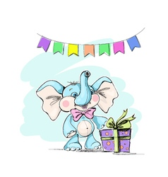 Cute and funny baby elephant with a gift and flags vector