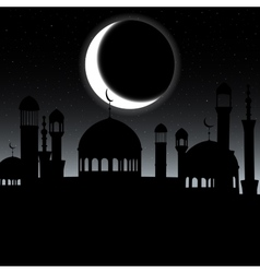 Mosque silhouette in night sky with vector