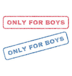 Only for boys textile stamps vector