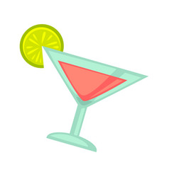 Pink cocktail in martini glass with lime slice on vector