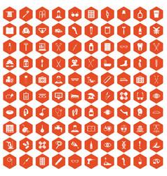100 disabled healthcare icons hexagon orange vector