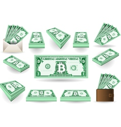 Set of one bitcoins banknotes vector