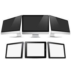 Three desktop computers and three tablets pc vector image