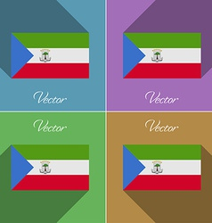 Flags equatorial guinea set of colors flat design vector