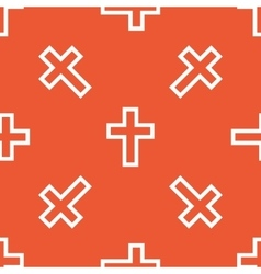 Orange christian cross pattern vector