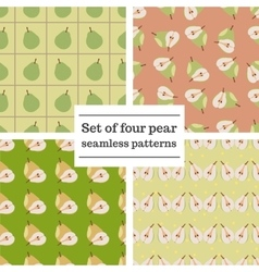 Set of four pear seamless patterns vector