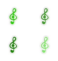 Assembly realistic sticker design on paper clef vector
