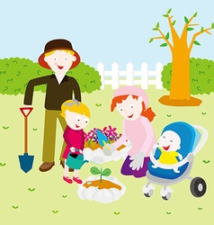 Family in spring vector