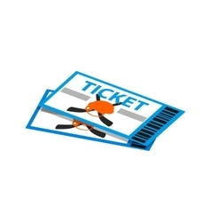 Hockey tickets isometric 3d icon vector