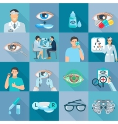 Oculist ophthalmologist flat icons set vector