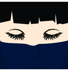 Face of a young girl under dark blue veil vector