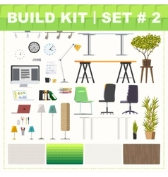 Build kit 2 office furniture vector