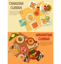 Canadian and argentine dishes for picnic icon vector