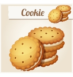 Cookie with white cream detailed icon vector