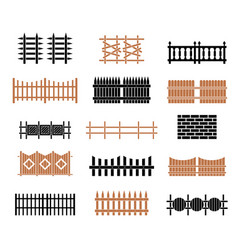 A large set of fences vector