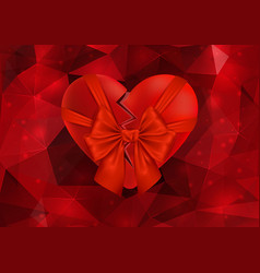 Broken heart with bow vector