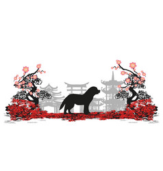 Chinese zodiac the year of dog vector
