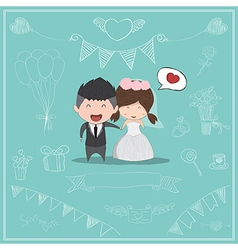 Cute cartoon Wedding couple men and women vector image