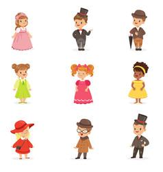 Cute children in elegant festive clothes kids in vector