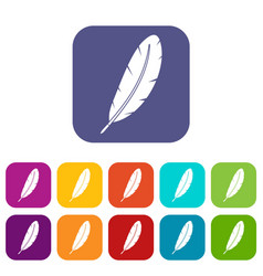 Feather pen icons set flat vector