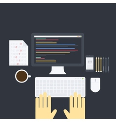 Flat programming pack vector