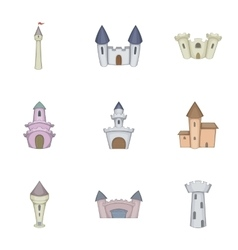 Historical ancient castle icons set cartoon style vector