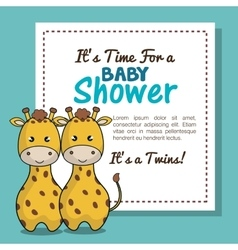 invitation baby shower twins boy giraffe design vector image vector image