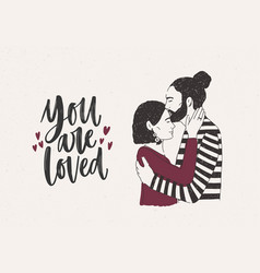 man embracing and kissing woman on forehead and vector image vector image