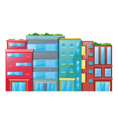 many buildings on white background vector image