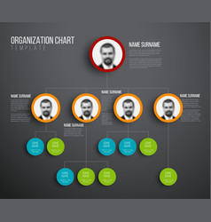 Minimalist hierarchy chart with photos vector