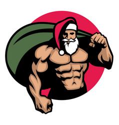 muscular santa claus bring a bag full of vector image