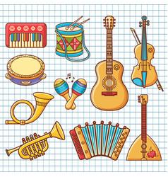 Musical instrument ornament cartoon style vector