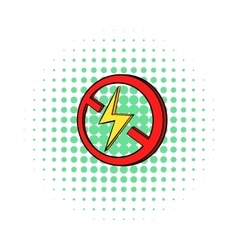 No lightning icon in comics style vector image vector image