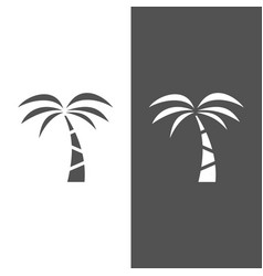 palm tree icon on a black and white background vector image vector image