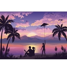 People on tropical beach vector image