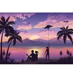 People on tropical beach vector