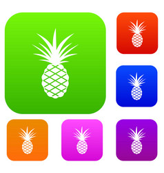pineapple set color collection vector image