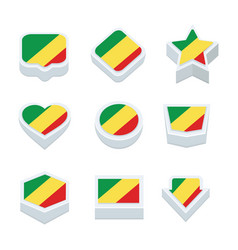 Republic of the congo flags icons and button set vector