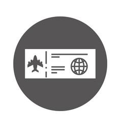Round icon airplane ticket cartoon vector