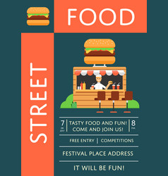 Street food festival invitation with burger cafe vector
