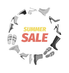 Summer sale advertisement banner footgear vector
