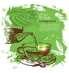 Tea vintage hand drawn sketch background vector