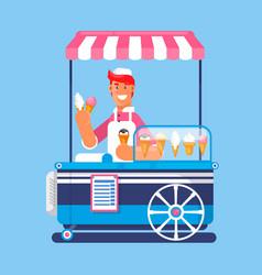 Trolley with ice cream ice cream cart market vector