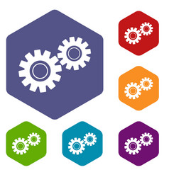 Two gears icons set hexagon vector