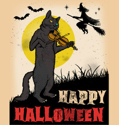 vintage halloween cat playing violin poster vector image vector image