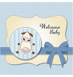 Welcome baby card with cow vector