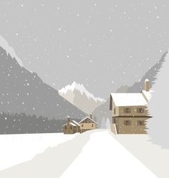 Winter mountain village background vector image vector image