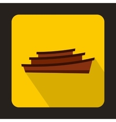 Wooden boat icon in flat style vector
